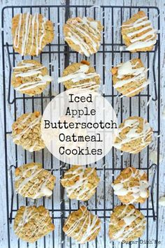 Soft, chewy oatmeal cookies with fresh apples and butterscotch chips. Iced Apple Butterscotch Oatmeal Cookies taste like fall and bake up quickly!