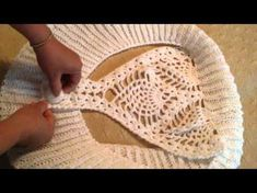 Bolero or bullfighter in crochet and two needles, My Crafts and DIY Projects Cardigans Crochet, Crochet Shirt, Crochet Jacket, Crochet Cardigan, Crochet Clothes, Crochet Bikini, Knit Crochet, Bolero Crochet, Crochet Stitches