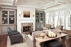 Beige and Dark Sofas in Traditional Living Room