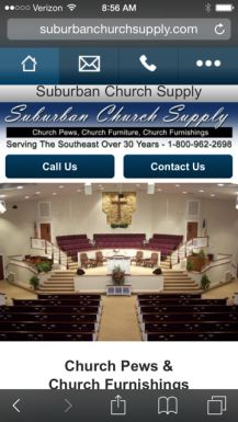 The Suburban Church Supply website is mobile friendly so you can see our church pew photos on your favorite mobile device.