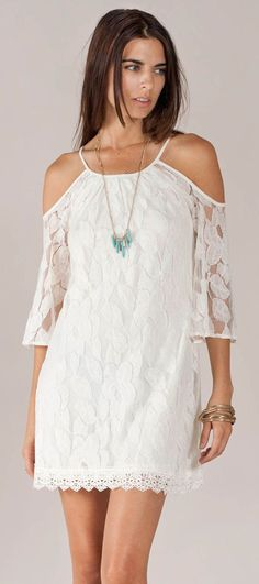 Flying Tomato Open Shoulder Lace Dress