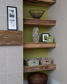 A fireplace mantle made from discarded building  trusses, with shelving made from shipping pallets, Patricia Gaylor's Design