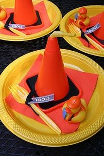 Another use for the cone cups we had a Z's bday party this year -Construction Zone Birthday Party Construction Birthday Parties, Construction Party, 3rd Birthday Parties, Birthday Fun, Birthday Ideas, Tool Party, Party Time, Creations, Party Ideas