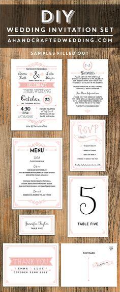 Blush Pink DIY Wedding Invitation Set   ahandcraftedwedding.com #printable #invitations