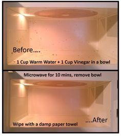 Seriously, the easiest way to clean your microwave! Thank you pinterest for sharing!
