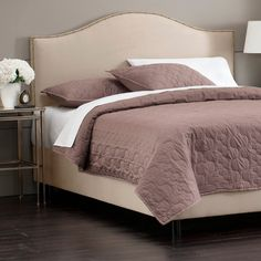 Greta Arc Queen Bed in Oatmeal