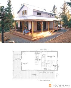 Modern farmhouse cabin floor plan and elevation - Are you the type who likes calm, comfortable and romantic people? Then the farmhouse is the right style for your home. The farmhouse is a decoration t. Small Modern Farmhouse Plans of Modern Farmhouse, Farmhouse Style, Farmhouse Ideas, Small Farmhouse Plans, Farmhouse Design, Restored Farmhouse, Farmhouse Bench, Farmhouse Rugs, Cottage Farmhouse