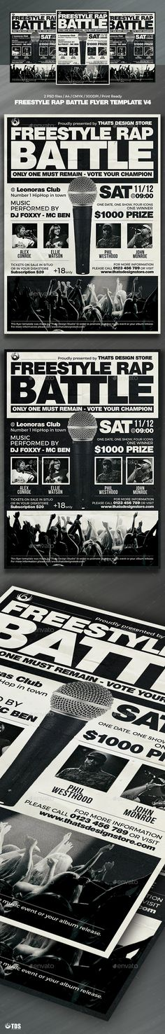 Freestyle Rap Battle Flyer Template PSD. Download here: http://graphicriver.net/item/freestyle-rap-battle-flyer-template-v4/16320145?ref=ksioks