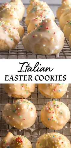 Italian Easter Cookies / Uncinetti These Traditional Italian Easter Cookies are made with a quick and easy dough. A simple lemon glaze tops these Italian Easter Cookies. Fun to make and decorate with kids during spring! Desserts Ostern, Köstliche Desserts, Holiday Desserts, Holiday Baking, Holiday Recipes, Delicious Desserts, Dessert Recipes, Recipes Dinner, Yummy Easter Recipes