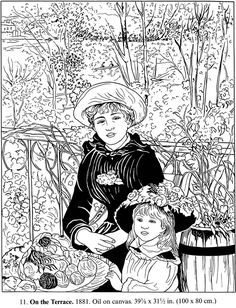 """Color Your Own Renoir Paintings, Dover Publications 01. A FULL COLOR picture is located on my other board """"Finished Coloring Pages."""""""