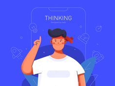 Thinking designed by Rwds for RaDesign. Connect with them on Dribbble; the global community for designers and creative professionals. People Illustration, Business Illustration, Flat Illustration, Illustrations, Digital Illustration, Web Design, Flat Design, Design Thinking, Marketing