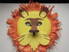 home made paper plate lion mask with features like the real animal.A home made paper plate lion mask with features like the real animal. Paper Plate Masks, Paper Plate Crafts, Paper Mask, Paper Plates, Paper Plate Animals, Animal Masks For Kids, Face Masks For Kids, Craft Activities For Kids, Preschool Crafts