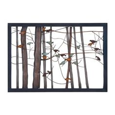 Intricate Bird and Tree Metal Wall Art  Adorned with an assortment of colors, the attractive, nature inspired design of this wall decor seamlessly complements different home settings. Brightly colored birds are perched on slender tree branches, and distressed accents and a wood grain finish lend a life-like charm to the design. The solid metal construction ensures hassle-free, long-lasting performance.