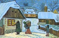 A Czech Christmas wouldn't be complete without Josef Lada's simply drawn carolers, snow-covered villages and nativity scenes. Josef Lada w. Artist Names, Prague, Happy Birthday, In This Moment, Painting, Happy Brithday, Urari La Multi Ani, Painting Art, Happy Birthday Funny