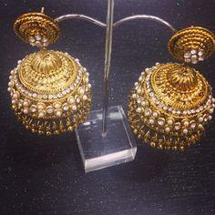 Beautiful Jumki Earrings!  Pearl and diamante embellishment on juicy Antique Gold! £8.99 +P&P  Www.etsy.com/uk/shop/sokorajewellery