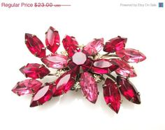 Flower Brooch with Red and Pink Rhinestone by serendipitytreasure