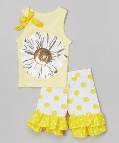 Loving this Yellow Daisy Tank & Ruffle Shorts - Toddler & Girls on #zulily! #zulilyfinds
