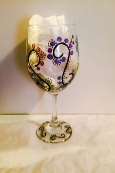 Swirl Wine Glasses Hand Painted Wine Glasses by SassyGlassBoutique