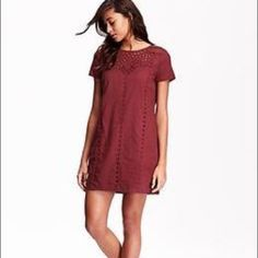 Old navy Eyelet shift dress Beautiful maroon color shift dress. Worn 3x max! Size small and so cute for any style! Can be worn with leggings during the winter and with heels in the summer! Perfect for any season. Make me offers! Old Navy Dresses