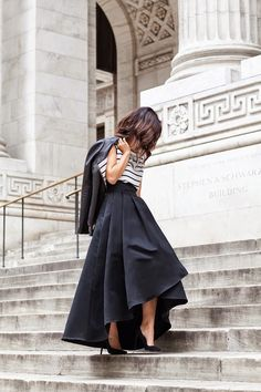 Top, organza full skirt, jacket by St.nJohn, pumps by Saint Laurent #StreetStyle