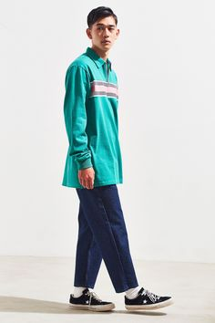 Slide View: 6: Lazy Oaf Green With Jealousy Zip Rugby Shirt