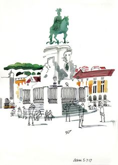 The Urban Sketchers travels in Portugal would not be complete without a trip to Lisbon. This time around they are represented by Lis Watkins from Britain and Paris Illustration, Travel Illustration, Watercolor Illustration, Architecture Sketchbook, Art Sketchbook, Urban Sketchers, Sketch Painting, Sketch Art, Sketches