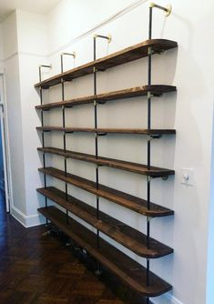 home Black Pipe Shelving with Brass Accents Black Pipe Shelving, Diy Pipe Shelves, Industrial Pipe Shelves, Wall Shelves, Floating Shelves, Glass Shelves, Galvanized Pipe Shelves, Shelves With Pipes, Industrial Lamps