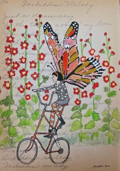 Butterfly on a Tall Bike a Small and Affordable by amyriceart, $60.00