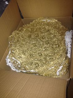 """140 10"""" Gold Doilies. under plates instead of gold chargers."""