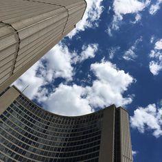 Toronto urban landscape repost  @nirvana.champignon  Lunch time views #toronto #cityhall #views #bluesky #nofilter