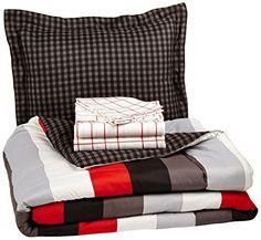 Pinzon 5-Piece Bed In A Bag - Twin,  Red Simple Stripe Pinzon by Amazon.com http://www.amazon.com/dp/B00KMNLBAI/ref=cm_sw_r_pi_dp_wi29vb02DDW8M