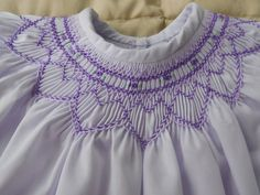 Had Smocked lavender batiste baby dress, Deep hem and lace trimmed smocked sleeves. Smocking Plates, Smocking Patterns, Smocked Baby Dresses, Pillowcase Dresses, Sewing Tutorials, Sewing Tips, Sewing Projects, Sewing School, Sewing Stitches