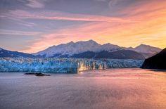 Sunrise at Hubbard Glacier. #alaska