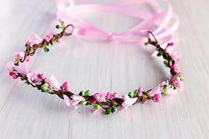 Pink Flower Girl Head Crown Boho Bridal Wreath by HandyCraftTS
