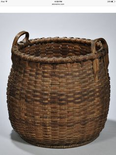Skinner's - The Personal Collection of Lewis Scranton, Auction 2897M. May 21, 2016. Lot: 171. Estimate: $300-500. Realized: $850. Description: Large Two-handled Woven Splint Basket, America, 19th century, ht. 16, dp. 15 in.