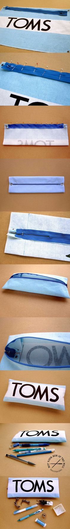 I would not use the toms bag, but this is a good tutorial for turning anything into a pouch