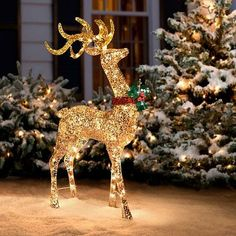 add a winter whimsical touch to your yard with this light up deer outside outside christmas decorationschristmas - Christmas Deer Yard Decorations