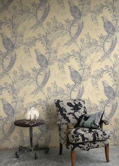 Pheasant wallpaper from Timorous Beasties - HS/PHES/ 4004/01 - Greys On Cream