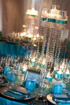 Crystal, blue & candles.