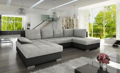 SIMENTO MAXI is a practical living room sofa and everybody will appreciate it's functionality.This model can be used as a sofa or a bed and also has a spacious storage container. We guarantee high quality and careful execution with attention to every detail. – U-shaped – available in many colors or possibility to personalize your own composition of material – sleeping area 55 x 102 in – storage 65.5 x 31.5 x 8 in – made in Europe  DIMENSIONS:  Length: 124.5 in Width: 74.5 in Height: 35.5 in