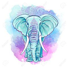 Elefante Indio En La Acuarela Blot Fotos, Retratos, Imágenes Y ...