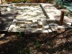 let the children play: just add sand Sandbox accessory ideas, – natural playground ideas Outdoor Play Spaces, Outdoor Fun, Outdoor Stuff, Outdoor Ideas, Sandbox Sand, Water Playground, Playground Ideas, Backyard Plan, Sand Play