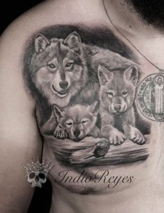 Trendy tattoo for guys wolf lion Ideas Wolf Pack Tattoo, Tribal Wolf Tattoo, Wolf Tattoo Sleeve, Wolf Tattoo Design, Wolf Tattoos, Animal Tattoos, Body Art Tattoos, Sleeve Tattoos, Tattoos For Kids