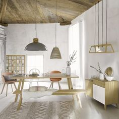 Woven Cotton and Wool Rug on Maisons du Monde. Take your pick from our furniture and accessories and be inspired! Parasols, Decoration, Industrial Style, Contemporary Design, Dining Bench, Norman, Home And Garden, Ceiling Lights, Wood