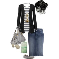 A fashion look from February 2013 featuring black top, anchor tank and denim skirt. Browse and shop related looks.
