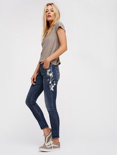 Jackie Embroidered Skinny Jeans   In a mid-rise these skinny jeans feature beautiful embroidery detailing down the sides.      * Premium stretch denim fabric.    * Five-pocket style.    * Button closure and zip fly.    * Fits true to size.