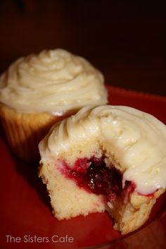 Meyer lemon cupcakes with a tart cranberry filling