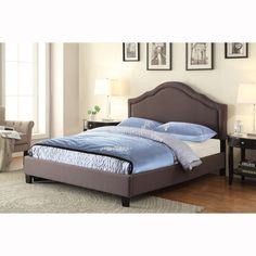 Brown Queen Size Upholstered Bed