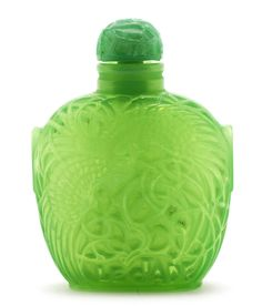 René Lalique for Roger & Gallet  'Le Jade' a Perfume Bottle and Stopper, design 1926  green opalescent glass  8cm high