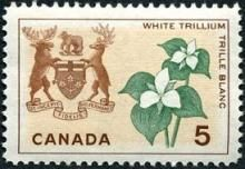 Canada Stamp -    (1964) - Coat of Arms and Provincial flower - Ontario:   White Trillium